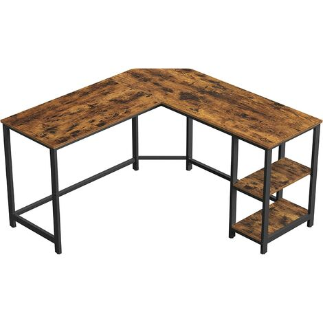 VASAGLE Computer Desk, L-Shaped Writing Workstation, Corner Study Desk with Shelves for Home Office, Space-Saving, Easy to Assemble, Industrial, Rustic Brown and Black by SONGMICS LWD72X