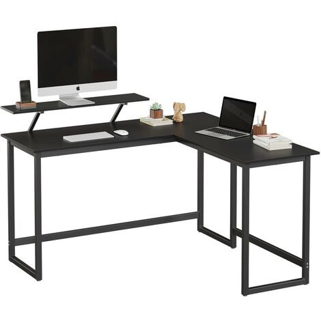 VASAGLE Computer Desk, L-Shaped Writing Workstation, Industrial Corner Desk With Monitor Stand, for Home Office Study Writing and Gaming, Space Saving, Easy Assembly, Black by SONGMICS LWD56BK - Black