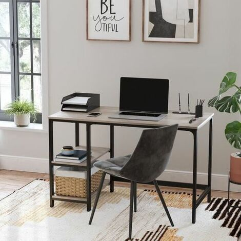 VASAGLE Computer Desk, Writing Desk with 2 Shelves on Left or Right, Work Table for Office Living Room, Steel Frame, Industrial, Greige and Black by SONGMICS LWD47MB - Greige and Black