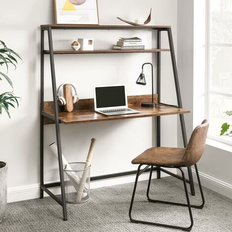 VASAGLE Computer Desk, Writing Desk with Storage Shelves, for Home Office Work Study, Bookshelf, Industrial, Rustic Brown and Black by SONGMICS LWD069B01 - Rustic Brown and Black