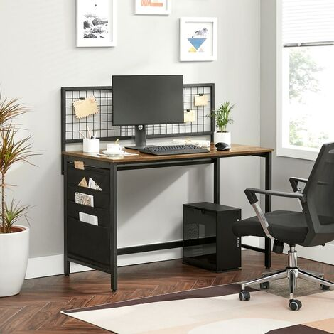 VASAGLE Computer Desk, Writing Study Desk with Metal Grid, Fabric Storage Bags, for Clipped Pictures, Stationery, Industrial, Rustic Brown and Black by SONGMICS LWD053B01 - Rustic Brown and Black