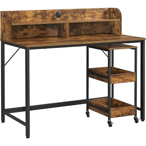 VASAGLE Computer Desk, Writing Study Desk with Monitor Stand, Cable Hole, 3-Tier Rolling Cart, Steel Frame, Industrial Style, Rustic Brown and Black LWD066B01 - Rustic Brown and Black