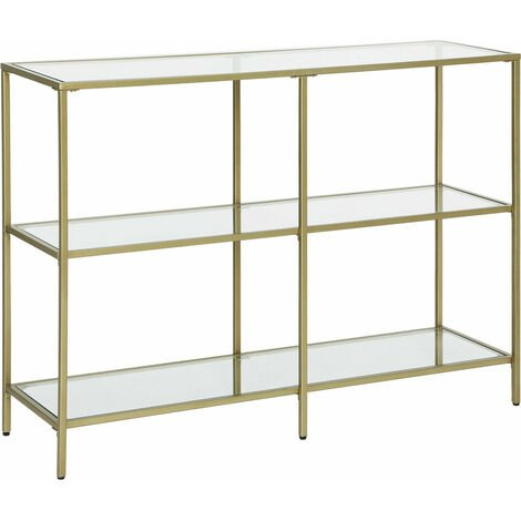 """main image of """"VASAGLE Console Table, 3-Tier Tempered Glass Sofa Table, Modern Storage Shelf, Sturdy, Easy Assembly, for Living Room, Bedroom, Kitchen, Golden by SONGMICS LGT27G - Golden"""""""