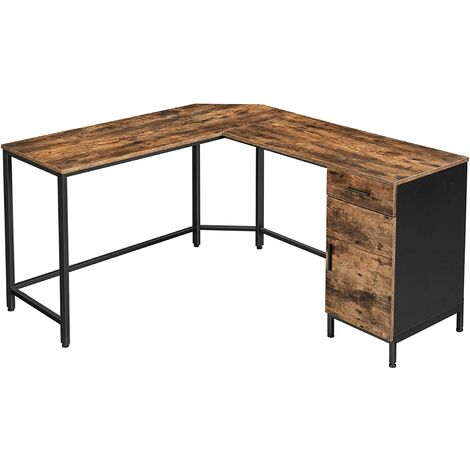 VASAGLE Corner Desk, L-Shaped Computer Desk, Office Desk with Cupboard and Drawer, Study, Space-Saving, Easy Assembly, Steel, Industrial Design, Rustic Brown and Black by SONGMICS LWD74X - Rustic Brown and Black