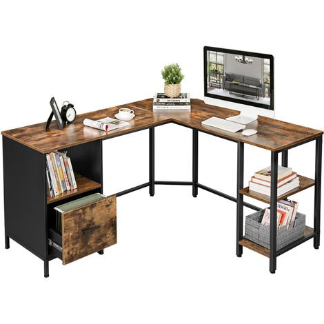 VASAGLE Corner Desk, L-Shaped Computer Desk, Office Desk with Cupboard and Hanging File Cabinet, 2 Shelves, Home Office, Space-Saving, Easy Assembly, Industrial Design, Rustic Brown and Black by SONGMICS LWD75X - Rustic Brown and Black