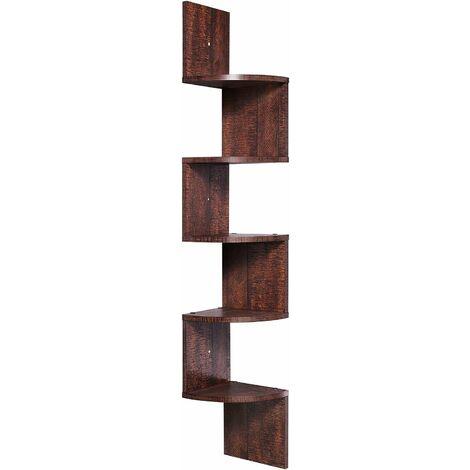 VASAGLE Corner Shelf, 5-Tier Floating Wall Shelf With Zigzag Design, Bookshelf