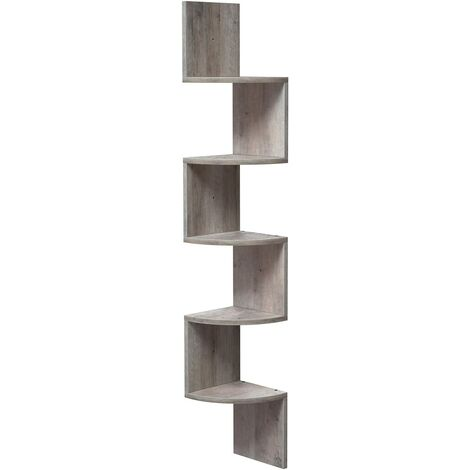 VASAGLE Corner Shelf, 5-tier Floating Wall Shelf With Zigzag Design, Bookshelf, Greige by SONGMICS LBC020M01