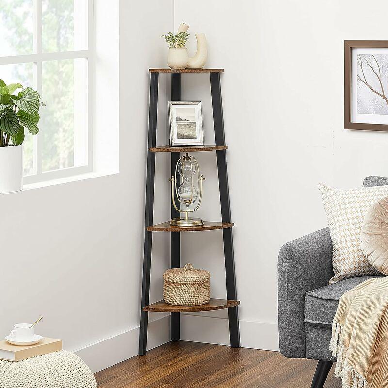 VASAGLE Corner Shelf Rack, 4-Tier Office Organiser Unit, Ladder Shaped  Bookcase, for Home, Living Room, Bedroom, Balcony, Vintage, Black, by  SONGMICS, ...