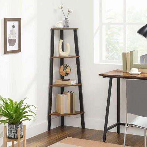 """main image of """"VASAGLE Corner Shelf Rack, 4-Tier Office Organiser Unit, Ladder Shaped Bookcase, for Home, Living Room, Bedroom, Balcony, Vintage, Black, by SONGMICS, LLS34X - Vintage, Black"""""""