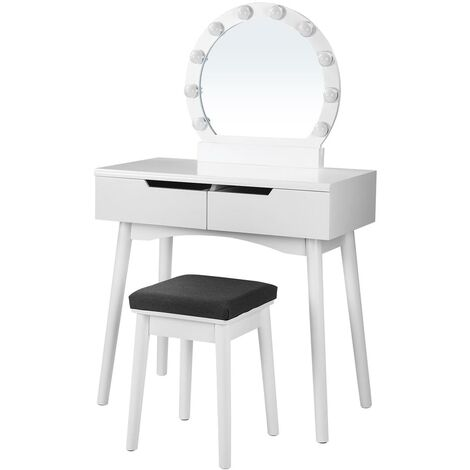 VASAGLE Dressing Table Set with Mirror and Light Bulbs for Makeup, Vanity Table with 2 Large Sliding Drawers and Cushioned Stool, White by SONGMICS RDT011W03