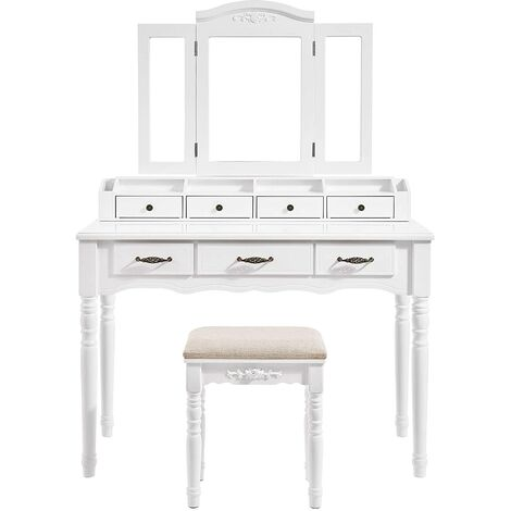 VASAGLE Dressing table with 7 Drawers, Makeup Table with Tri-Fold Necklace Hooked Mirror, 2 Brush Slots and 4 Open Compartments, Solid Wood Legs, Cushioned Stool, White/Black