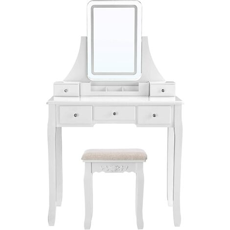 """main image of """"VASAGLE Dressing Table with Dimmable LED Lights, Makeup Table with 5 Drawers and 1 Removable Organiser, Vanity Set with Cushioned Stool, White by SONGMICS RDT025W03 - White"""""""