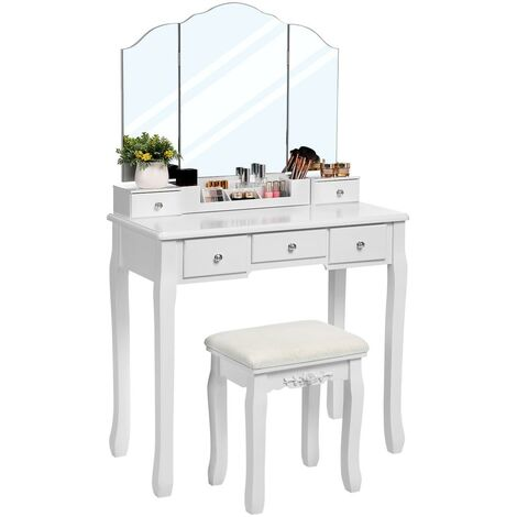 VASAGLE Dressing Table with Tri-Folding Mirror, Makeup Table with 5 Drawers and 1 Removable Storage Box, Solid Wood Legs, Vanity Table with Stool, White and Natural/White