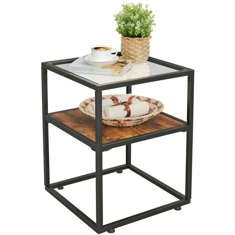VASAGLE End Table, Tempered Glass Side Table, Nightstand with Storage Shelf, Accent Furniture in Living Room, Lounge, Stable Steel Frame, Industrial, Rustic Brown and Black by SONGMICS LET03BX