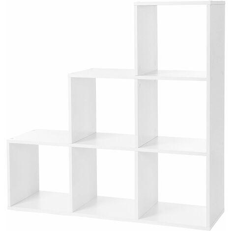 VASAGLE ÉTagère escalier, Meuble de Rangement, 6 Compartiments, pour bibliothèque, Salon, Chambre, Blanc par SONGMICS LBC63WT - Blanc
