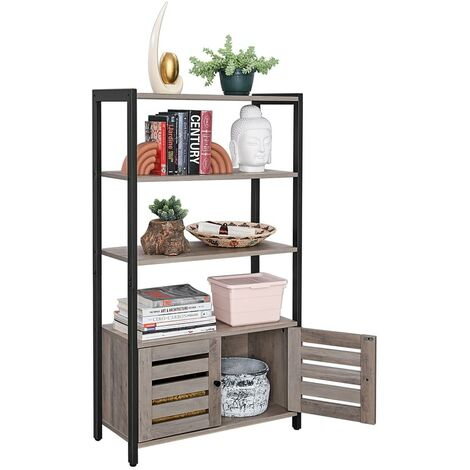 VASAGLE Floor Standing Cabinet, Bookshelf, Industrial Storage Cabinet with 3 Shelves and 2 Shutter Doors, Bookcase in Living Room, Study, Office, Bedroom, 70 x 30 x 121.5 cm, Rustic Brown,by SONGMICS,LSC75BX