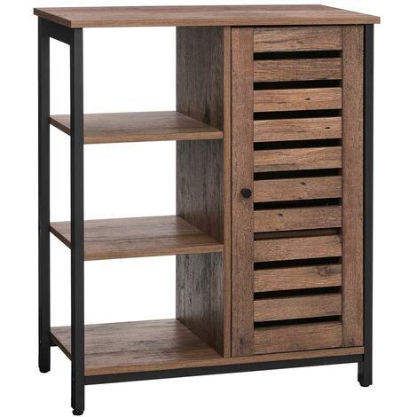VASAGLE Floor Standing Cabinet, Industrial Storage Cabinet, Sideboard With 3 Shelves and Cupboard, Living Room, Hallway, Kitchen, Bedroom, 70 x 30 x 81 cm, Rustic Brown/Hazelnut Brown and Black