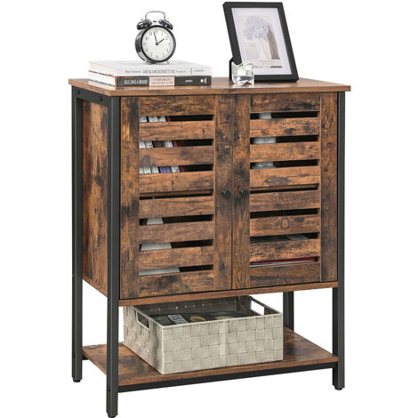 VASAGLE Floor Standing Cabinet, Storage Cabinet, Kitchen Cupboard with Shelf and Louvred Doors, Multifunctional, Industrial Design, Rustic Brown and Black by SONGMICS LSC77BX