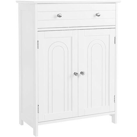 VASAGLE Free Standing Bathroom Cabinet with Large Drawer and Adjustable Shelf, Country Style, Wooden Entryway Storage Cabinet, White, 60 x 30 x 80cm (W x D x H), by SONGMICS, BBC61WT