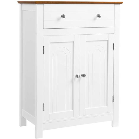 VASAGLE Free Standing Bathroom Cabinet with Large Drawer and Adjustable Shelf, Country Style, Wooden Entryway Storage Cabinet, White & Brown,60 x 30 x 80cm (W x D x H), by SONGMICS, BBC62WT