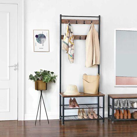 VASAGLE Garderobenständer, Kleiderständer mit Schuhablagen, Schuhregal mit Sitzfläche für Flur, mit Haken, Metallrahmen mit matter Oberfläche