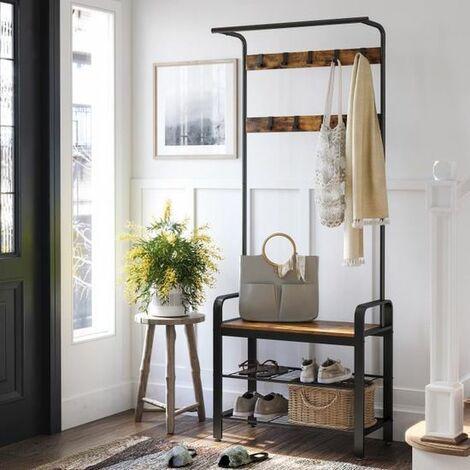 VASAGLE Garderobenständer mit 3 Ablagen 183 x 72 x 33,7 cm Kleiderständer mit 9 Haken und Schuhregal haselnussbraun-schwarz/Weiß/Vintage