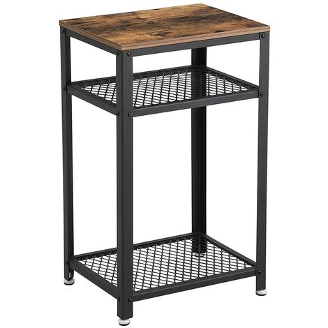 VASAGLE Hallway Side Table, Bedside Unit with 2 Mesh Shelves, End Table, in Office Hallway or Living Room, Stable Metal Frame, Rustic Brown by SONGMICS LET75BX