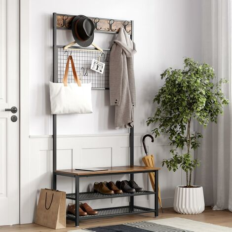 VASAGLE Industrial Coat Rack Stand, Shoe Rack and Bench with Grid Memo Board, 9 Hooks, and Storage Shelves, Hall Tree with Stable Metal Frame, Rustic Brown by SONGMICS HSR46BX