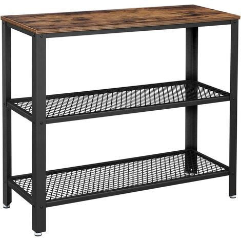 VASAGLE Industrial Console Table, Hallway Table with 2 Mesh Shelves, Side Table and Sideboard, Living Room, Corridor, 101.5 x 35 x 80 cm, Narrow, Steel, Rustic Brown by SONGMICS LNT81BX - Rustic Brown