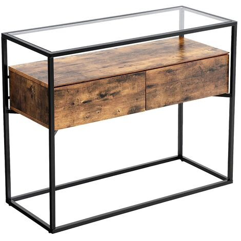 VASAGLE Industrial Console Table, Tempered Glass Table with 2 Drawers and Rustic Shelf, Decoration Sideboard, in Hallway Lounge or Foyer, Stable Iron Frame by SONGMICS LNT11BX