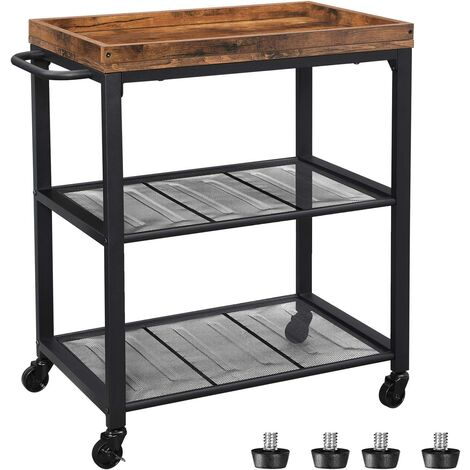 VASAGLE Industrial Kitchen Trolley, Serving Cart Trolley, Universal Castors with Brakes, Leveling Feet, Kitchen Shelf with Mesh Shelves and Iron Structure, 60 x 40 x 75 cm, Rustic Brown by SONGMICS LRC75BX