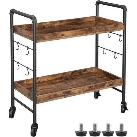 VASAGLE Industrial Kitchen Trolley, Serving Cart Trolley, Universal Castors with Brakes, Levelling Feet, Iron Structure, Kitchen Shelf with Hooks, 86 x 40 x 85 cm, Rustic Brown by SONGMICS LRC85BX