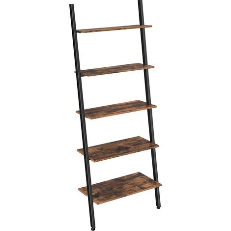 VASAGLE Industrial Ladder Shelf, 5-Tier Bookshelf Rack, Wall Shelf for Living Room, Kitchen, Office, Stable Iron, Leaning Against the Wall, Rustic Brown by SONGMICS LLS46BX