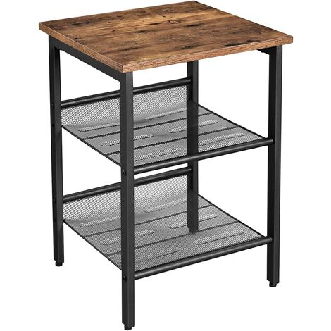 VASAGLE Industrial Nightstand, End Table, Side Table with 2 Adjustable Mesh Shelves, Easy Assembly, for Living Room, Bedroom, Stable Metal Frame, Rustic Brown by SONGMICS LET23X