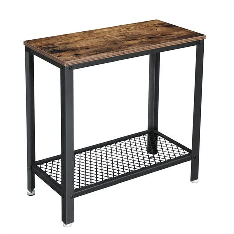 VASAGLE Industrial Side Table, End Table, Bedside Table With Mesh Shelf, Easy Assembly, Narrow and Space Saving in Living Room, Bedroom, Iron, 60 x 30 x 60 cm, Rustic Brown by SONGMICS LET31BX