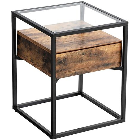 VASAGLE Industrial Side Table, Tempered Glass End Table with Drawer and Rustic Shelf, Bedside Table, Decoration in Living Room Lounge Foyer, Stable Iron Frame by SONGMICS LET04BX