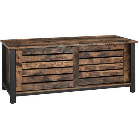 VASAGLE Industrial TV Stand for TVs up to 48 Inches, TV Cabinet with Sliding Doors and 2 Shelves, Lowboard in Living Room Bedroom Hallway, Iron, 110 x 40 x 45 cm, Rustic Brown by SONGMICS LTV41BX - Rustic Brown