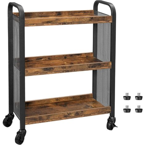 VASAGLE Kitchen Trolley, Rolling Cart, Serving Trolley with Universal Castors Levelling Feet, Space-Saving, Iron Structure, 66 x 26 x 85 cm, for Kitchen, Living Room