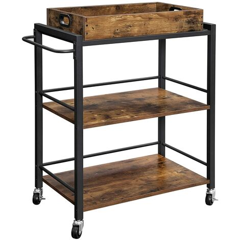 VASAGLE Kitchen Trolley with Removable Tray, Serving Cart Trolley, Universal Castors with Brakes, Leveling Feet, Iron Structure, Kitchen Shelf, 65 x 40 x 86 cm, Rustic Brown by SONGMICS LRC72X