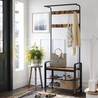 VASAGLE Kleiderständer Garderobenständer rustikal mit 9 Abnehmbaren Haken Schuhregal mit Sitzfläche 3 Ablagen Holz Metall 72 x 183 x 33.7cm Vintage/Weiß