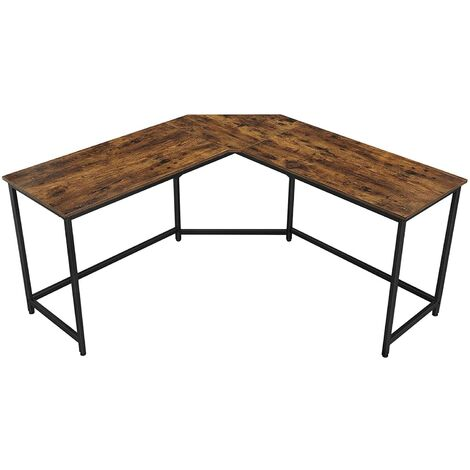 VASAGLE L-Shaped Computer Desk, Corner Desk for Study, Home Office, Gaming, Space-Saving, Easy Assembly, Industrial Design, Rustic Brown by SONGMICS LWD73X - Rustic Brown