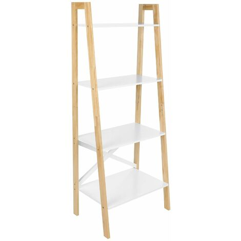 VASAGLE Ladder Shelf, 4-Tier Home Office Bookshelf, Freestanding Storage Shelves, for Living Room Bedroom Kitchen, Solid Wood Frame, Easy to Assemble, Matte White and Natural Colour by SONGMICS LLS200N01
