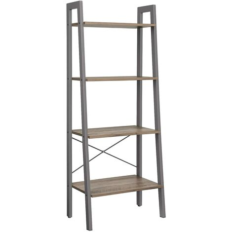 VASAGLE Ladder Shelf, Bookshelf, 4-Tier Industrial Storage Rack for Living Room, Bedroom, Kitchen, Rustic Brown/Greige and Grey