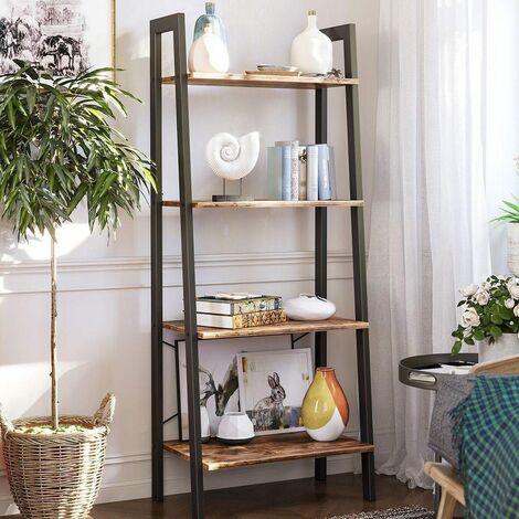 VASAGLE Ladder Shelf, Bookshelf, 4-Tier Industrial Storage Rack for Living Room, Bedroom, Kitchen, Rustic Brown/Greige and Grey
