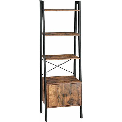 VASAGLE Ladder Shelf, Bookshelf with Cupboard, Living Room Shelf, 4 Shelves, Stable Steel Frame, Bedroom, Office, 56 x 34 x 173 cm, Industrial Design, Rustic Brown by SONGMICS LLS47BX