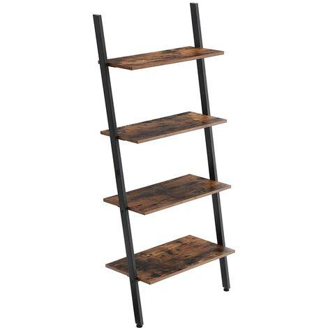 VASAGLE Ladder Shelf, Wall Rack Shelf Storage Shelving Unit 4 Tier Industrial Design Decorate Bookcase Living Room Kitchen Office Iron Stable Slanted Dark Brown/Greige and Black