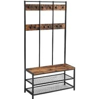 VASAGLE Large Coat Rack, Hat and Coat Stand with 12 Hooks and Shoe Bench in Industrial Design, Multifunctional Hallway Shelf, Office, Bedroom, Sturdy Iron Frame, 100kg, by SONGMICS, HSR86BX