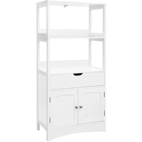 VASAGLE Large Storage Cabinet with Drawer 2 Open Shelves and Double Door Cupboard Floor Bathroom Cabinet Display in The Entryway Kitchen and Living Room White by SONGMICS BBC64WT