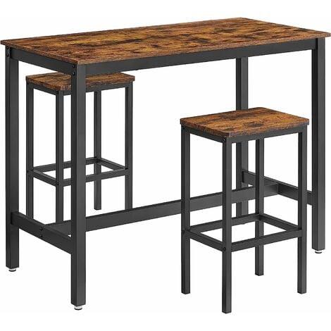 """main image of """"VASAGLE Lot Table et Chaises de Bar, Table Haute avec 2 Tabourets de Style Industriel, pour Cuisine, Salle à Manger, Salon, Marron rustique/ Grège et Noir"""""""