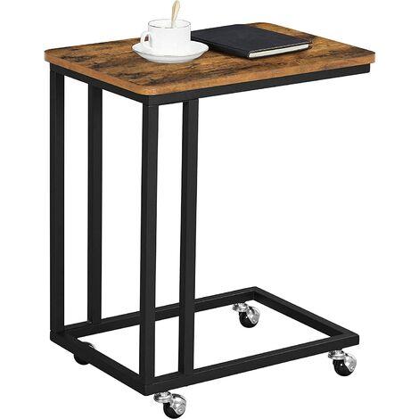 VASAGLE Mesa Auxiliar con Ruedas para sofá Mesa Lateral Café Comidas Ordenador iPad Estructura de Metal Estilo Retro por SONGMICS LNT50X